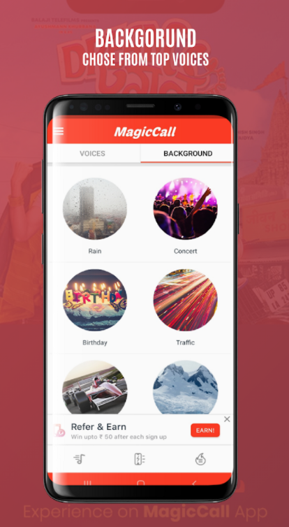 addind background voice features on magiccall voice changer app