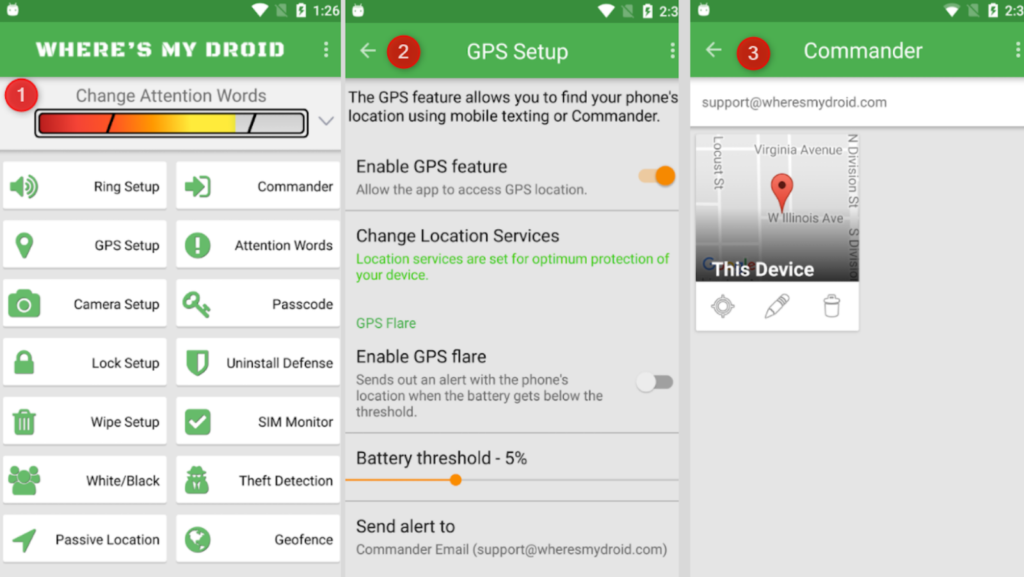 checking where's my droid dashboard to active gps setup and commander